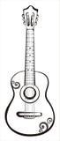 Croquis classique acoustique de guitare Photographie stock libre de droits