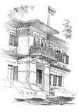 Croquis colonial de bâtiment illustration stock