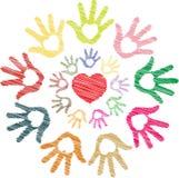 Croquis coloré de coeur à disposition dans le modèle rond Images stock