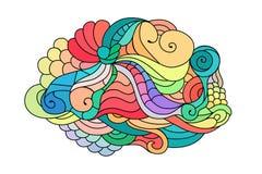 Croquis coloré de griffonnage de zentangle Croquis de tatouage Illustration onduleuse tribale ethnique de vecteur illustration stock