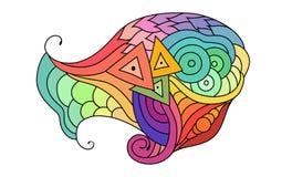Croquis coloré de griffonnage de zentangle Croquis de tatouage Illustration onduleuse tribale ethnique de vecteur illustration libre de droits
