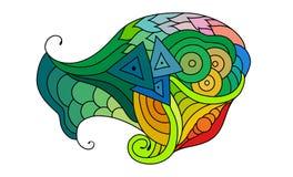 Croquis coloré de griffonnage de zentangle Croquis de tatouage Illustration onduleuse tribale ethnique de vecteur illustration de vecteur