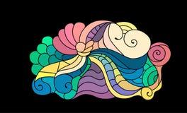 Croquis coloré de griffonnage de zentangle Croquis de tatouage Illustration onduleuse tribale ethnique illustration libre de droits