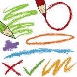 Croquis colorés de crayon Image libre de droits