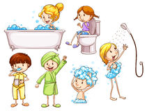Croquis colorés simples des personnes prenant un bain Photos stock