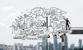 Croquis conceptuels d'affaires de dessin d'homme d'affaires Image stock
