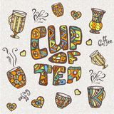 Croquis décoratif de tasse de café Photographie stock libre de droits