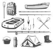 Croquis d'équipement de sport de pêche de l'attirail de pêcheur illustration stock