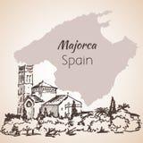 Croquis d'île de Majorca croquis Photos libres de droits