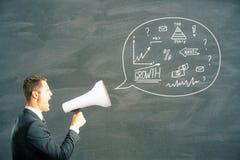 Croquis d'affaires dans la bulle de la parole Images libres de droits