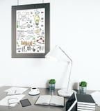 Croquis d'affaires dans le cadre de tableau Photographie stock libre de droits