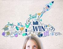 Croquis d'affaires de femme d'affaires et de dessin photos stock