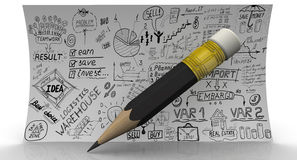 Croquis d'affaires à la main et crayon Photographie stock