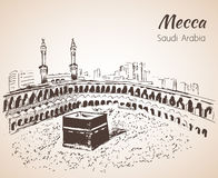 Croquis d'Al-Haram de Masjid mecca Photographie stock libre de droits