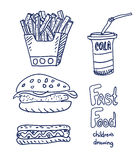 Croquis d'aliments de préparation rapide Photo stock