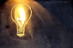 Croquis d'ampoule sur le tableau noir avec la lumière Photographie stock