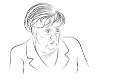 Croquis d'Angela Merkel de tristesse Images stock