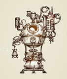 Croquis d'appareillage de distillation de vintage Illustration Moonshining de vecteur illustration de vecteur