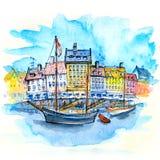 Croquis d'aquarelle de Nyhavn, Copenhague, Danemark illustration de vecteur