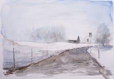 Croquis d'aquarelle de paysage d'hiver image stock