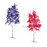 Croquis d'aquarelle des arbres Image libre de droits