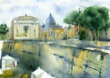 Croquis d'aquarelle du paysage urbain Images libres de droits