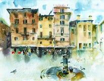 Croquis d'aquarelle du paysage urbain Photo libre de droits