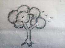 Croquis d'arbre avec des oiseaux Photographie stock libre de droits
