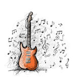 Croquis d'art de conception de guitare Photographie stock