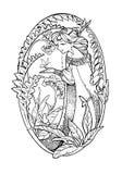 Croquis d'art de dame féerique avec le papillon et les fleurs Image libre de droits