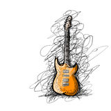 Croquis d'art de guitare pour votre conception Photo stock
