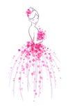 Croquis d'art de jeune mariée avec les fleurs roses Photo libre de droits