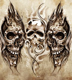Croquis d'art de tatouage, crânes Photos stock
