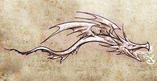 Croquis d'art de tatouage, dragon décoratif élégant illustration de vecteur