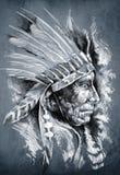 Croquis d'art de tatouage, Indien d'Amerique indigène Photos stock