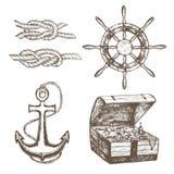 Croquis d'aspiration d'Equipment Set Hand de marin Vecteur Photographie stock