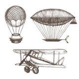 Croquis d'aspiration de main de ballons à air et de dirigeables Vecteur illustration de vecteur