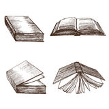 Croquis d'aspiration de main de livres Vecteur illustration stock