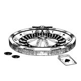 Croquis d'aspiration de main de roue de roulette de casino Vecteur illustration stock