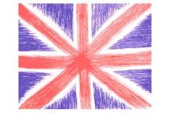 Croquis d'aspiration de main, drapeau anglais illustration de vecteur