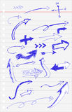 Croquis d'aspiration de main, Pen Arrow bleu Images libres de droits