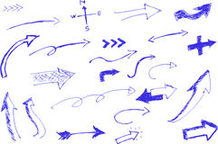 Croquis d'aspiration de main, Pen Arrow bleu Photographie stock libre de droits