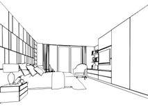 Croquis d'ensemble d'un intérieur Image stock