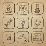 Croquis d'icônes de la Science Photographie stock libre de droits