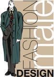 Croquis d'illustration belle d'homme de mode. Photographie stock libre de droits
