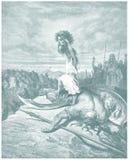 Croquis d'illustration de David et de Goliath Photos stock