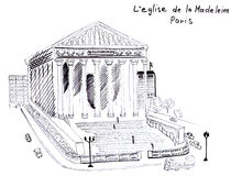 Croquis d'illustration de la cathédrale antique de Madeleine Paris Photos stock