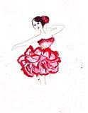 Croquis d'illustration de silhouette femelle dans des robes Images stock