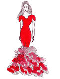Croquis d'illustration de silhouette femelle dans des robes Photo libre de droits