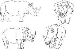 Croquis d'illustration de vecteur de rhinocéros Image libre de droits